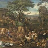 Lot 332: Carl Borromäus Andreas Ruthart (Werkstatt), 1630-1703, Zug der Tiere in die Arche Noah, Öl/Lwd., 90 x 112 cm, Ergebnis: 55.000 €