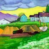 Lot 351 Gabrielle Munter, Landscape with Blue Houses (est. £50,000-70,000)