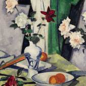 Lot 36 Peploe, Still Life of Roses in a Blue and White Vase.
