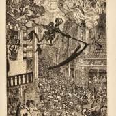 La Mort poursuivant le troupeau des humains Etching and drypoint, 1896, the second state (of three) Estimate £8,000-12,000 / €9,600-14,400