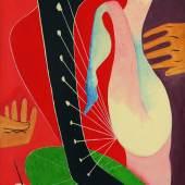 Lot 40 Man Ray, Femmelaharpe, 1957, oil on canvas, 160.5 by 96cm (est. £700,000-1,000,000)