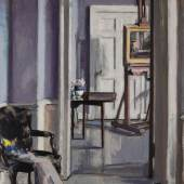 Francis Campbell Boileau Cadell Interior, 30 Regent Terrace with Easel oil on canvas Estimate £180,000-250,000