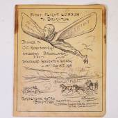 Lot 507 AVIATION - Menu commemorating the first flight from London to Brighton. Estimate:£200 - £300 Hammer price:£750