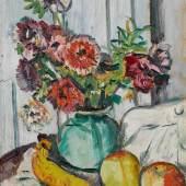 Lot 5 George Leslie Hunter, Anemones in a Green Vase, with Fruit, est. £60,000-80,000