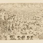 Les Bains à Ostende Etching, 1899, a good impression of the second (final) state Estimate £6,000-8,000 / €7,200-9,600