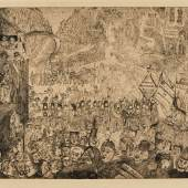 L'Entrée du Christ à Bruxelles Etching and drypoint, 1899, a good impression of this rare and important print, the third (final) state Estimate £15,000-20,000 / €17,900-23,900