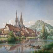 Lot 772: Peter Becker (Frankfurt/Main 1828 – 1904 Soest), Blick auf Marburg an der Lahn, Aquarell mit Deckfarben, 1874