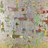 Lot 8 - Reza Derakshani, Purple Hunt, 2017, oil, gold and silver paste on canvas, 183x183cm