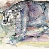 Lotte Berger, Der Stier, 1985, Aquarell/Paper, 480 x 640 mm, Foto © Galerie bei der Albertina ▪ Zetter, Wien.