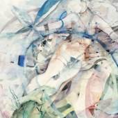 Lotte Berger, Entschwebend, 1976, Aquarell/Paper, 480 x 640 mm, Ausstellung: KLEINE GALERIE, Wien, 1080, Lotte Berger-Mahringer, Aquarelle, 1976, Foto © Galerie bei der Albertina ▪ Zetter, Wien