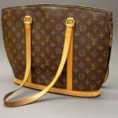 Louis Vuitton, shopping bag Große Schultertasche in Monogramm Canvas, hellbraune Ledergurte, Reißverschluss und Innentaschen, kaum benutzt, guter Zustand, 31 x 40 cm Limit::90 €