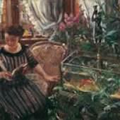 Lovis Corinth Dame am Goldfischbassin, 1911 Öl auf Leinwand 74 x 90,5 cm Belvedere, Wien © Belvedere Wien