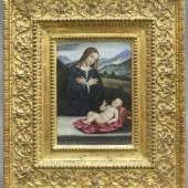 Francia, Francesco 1450-1517, Öl auf Holz, stehende Muttergottes mit liegendem Jesusknaben auf rotem Stoff Mindestpreis:6.000 EUR