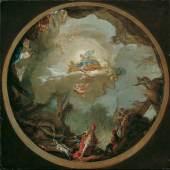 Vinzenz Fischer, Die Jagd des Agamemnon, Entwurf für das 1766 entstandene Deckengemälde des Dianatempels in Laxenburg, 1763 © Belvedere, Wien Öl auf Leinwand, 63 x 63 cm