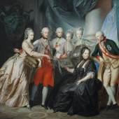 Friedrich Heinrich Füger, Kaiserin Maria Theresia im Kreise ihrer Kinder, 1776 © Belvedere, Wien Tempera auf Pergament 34,2 x 39 cm Rahmenmaße: 48 x 53 x 6 cm