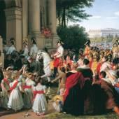 Johann Peter Krafft, Der Einzug von Kaiser Franz I. in Wien nach dem Pariser Frieden am 16. Juni 1814, vor 1828 © Belvedere, Wien, Foto: © Belvedere, Wien Öl auf Leinwand 38,5 x 65 cm