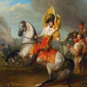 Johann Peter Krafft, Erzherzog Karl mit der Fahne des Regiments Zach in der Schlacht bei Aspern, 1809,1811 Privatbesitz, Foto: © Belvedere, Wien Öl auf Leinwand 56,6 x 48 cm