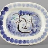 """PICASSO, Pablo, große Platte, """"Speckled black face"""", Keramik, glasiert und farbig staffiert, Mindestpreis:9.000 EUR"""