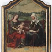 Werkstatt Jan Baegert / Meister von Cappenberg 1465 Wesel - 1527 evtl. 1535 Wesel - Anna selbdritt - Öl/Holz. 57 x 41 cm. Aufrufpreis:6.000 EUR Schätzpreis:10.000 EUR