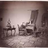Ludwig Angerer Herrenporträt in weiträumiger Atelierdekoration, 1867 Albertina, Wien - Dauerleihgabe der Höheren Graphischen Bundes-Lehr-und Versuchsanstalt, Wien