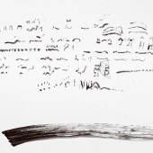 """Georg Jappe (1936-2007) """"Lüttmoor, Sonagramme der Regenpfeifer, mit dem Saft eines Schopf-Kindling von der Hallig, 2003 43 x 61 cm Hamburger Kunsthalle, Kupferstichkabinett. Geschenk der Lili Fischer und Georg Jappe Stiftung, Hamburg 2011 © Georg Jappe; VG Bild-Kunst, Bonn 2012"""