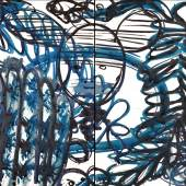 LuLu Blue 13 ( diptych) by Mark cooper 20 x 48 inches 2013