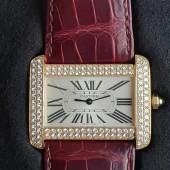 Luxuriöse Cartier-Armbanduhr - Cartier Tank Divan XL, Ref.2602, 18Kt-Gelbgold,  Aufrufpreis:7.300 EUR