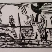 Lyonel Feininger, Auf der Quaimauer, o. J., Holzschnitt (posthum), 17 x 21,5 cm. Städtische Kunstsammlung Wilhelmshaven