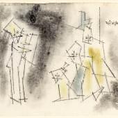 """Feininger, Lyonel 1871 New York - 1956 ebd. Aquarell/Tuschfeder auf Papier.  Vier Ghosties. 1950er Jahre.  O.r. sign. (Beschnitten, Fehlstelle u.l.). 12 x 15,5 cm. Pass. R. Der Künstler verkaufte diese kleinen Zeichnungen wie die  """"Ghosties"""" oder """"Männekins"""" nicht, sie wurden verschenkt. Lit.: 1,2,11,14.  Limit: 6.500,- €"""