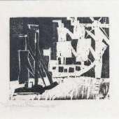 Lyonel Feininger (New York 1871 - New York 1956) Schiffe und Sonne 4 1918, Holzschnitt/Japan, 10 x 11,5 cm, l. u. mit Bleistift sign. Mindestpreis:4.000 EUR