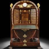 Eleganter Lyra-Sekretär, 19. Jahrhundert, Mahagoni, 153 x 108 x 43 cm, Schätzpreis 25.000 €