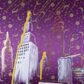 "Sigmar Polke, ""Stadtbild I"", 1968, Acrylfarbe auf Kunstseide, MHK, Neue Galerie, Städtischer Kunstbesitz"