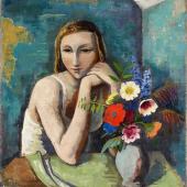 """Karl Hofer  """"Mädchen mit Blumen""""   1936  Öl auf Leinwand   85,3 x 75,5cm  Ergebnis: 281.600 Euro"""