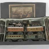 Märklin Eisenbahn, Lok mit Tender, 4 Wagen, 6 Gleise, 1 Stellwerk, wohl um 1929-37 Mindestpreis:ohne Limit