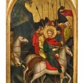 Lot 1001 Nr. 366 495 Maestro di Campo Giove (Nicolo Olivieri della Pietranziera?), tätig in den Abbruzzen im 14. Jh. Eine von vier Tafeln mit Szenen aus der Legende des Heiligen Eustachius Tempera auf Holz, je 40 x 32 cm Schätzpreis: € 140.000 – 160.000,- Ergebnis: € 198.000,-