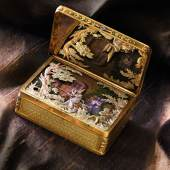 Lot 81 The Celebrated King Farouk Magician Box A Superb Four Color Gold and Musical Automaton Magician Snuff Box Attributed to Piguet & Meylan Goldsmith's Mark of Chenevard Jouvet & Cie, Geneva Circa 1820 Estimate $1,500,000-2,500,000