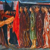 Mahmoud Sabri, Jnazet (Funeral), 1961, oil on canvas mounted on board (est. £180,000-220,000)