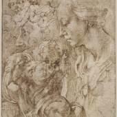 Michelangelo Buonarroti Brustbild einer Madonna im Profil, das auf einem Kissen liegende Christuskind und andere Studien, 1503/04  Feder in Braun ©Staatliche Museen, Kupferstichkabinett, Berlin