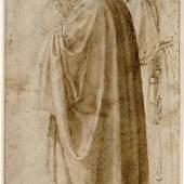 Michelangelo Buonarroti Drei stehende Männer in weiten Mänteln nach links gewendet, um 1492-96  Feder in Braun  © Albertina, Wien
