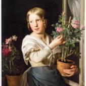 Junges Mädchen am Fenster mit Blumenstöcken, 1849 Rosalia Amon Öl auf Leinwand Copyright: Wien Museum