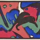 """Wassily Kandinsky, Franz Marc: Der Blaue Reiter  Piper Verlag, München 1912  (Illustration: """"Pferde"""" nach Aquarell von Franz Marc)  Courtesy Sammlung Giovanni Aldobrandini  Foto: © Belvedere, Wien"""