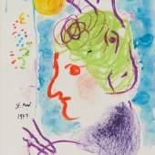 Marc Chagall (1887 – 1985)  Peintre au double profil | 1977 Gouache | 39 x 30 cm Taxe: 80.000 – 120.000 €