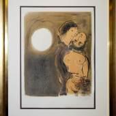 "Marc Chagall, ""Couple en ochre"", sign. Farblithographie, 1952, aufwändige Rahmung mit Museumsglas Marc Chagall, 1887 – 1985 Schätzpreis:3.500 - 4.000 EUR"