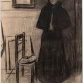 Marianne Elrick-Manley Fine Art, Joaquín Torres-García (1874-1949) Modelo en el taller (Model in the studio) charcoal on paper, ca. 1898 23 5/8 x 16 1/8 in. (600 x 410 mm) Signed on the left corner