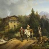 Marr, Heinrich.  1807 - München - 1871 Den heiligen Nepomuk grüßender Vater mit seinem reitenden Sohn Aufrufpreis:1.400 EUR