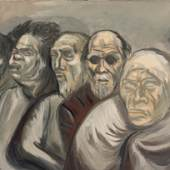 Mary-Anne Martin Fine Art, José Clemente Orozco (1883-1949 ) Five Heads (Beggars) Gouache on wove paper c. 1940 Signed lower left J.C. Orozco 11 3-8 x 16 in