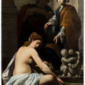 Massimo Stanzione (1585 - 658)  Bathsheba at her Bath  Oil on canvas, 76 × 57½ in (193 × 146 cm)   Galerie Canesso