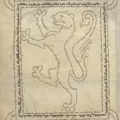 Hebräischer Codex mit  schreitendem Löwen Der aus Schriftzeichen geformte  Löwe symbolisiert Judäa Deutschland, 1299 Pergament