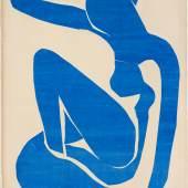 Henri Matisse, Nu bleu I, 1952  Mit Gouache bemalte und ausgeschnittene Papiere, auf Papier auf Leinwand, 106,3 x 78,0 cm Fondation Beyeler, Riehen/Basel, Sammlung Beyeler © Succession Henri Matisse / ProLitteris, Zürich / Foto: Robert Bayer