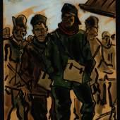 Wilhelm Thöny, Kriegsgefange in Mauthausen, 1915,  Mischtechnik auf Papier, GrazMuseum